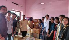 NSS Vidya Unit distributing materials for flood relief camp at Patthanamthitta